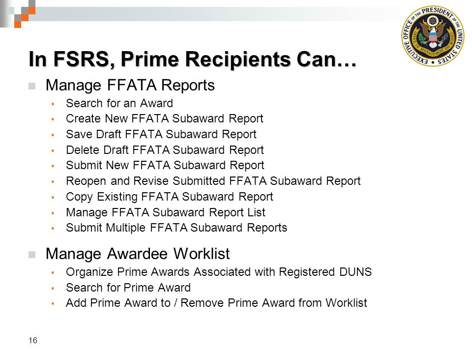 In FSRS, Prime Recipients Can…