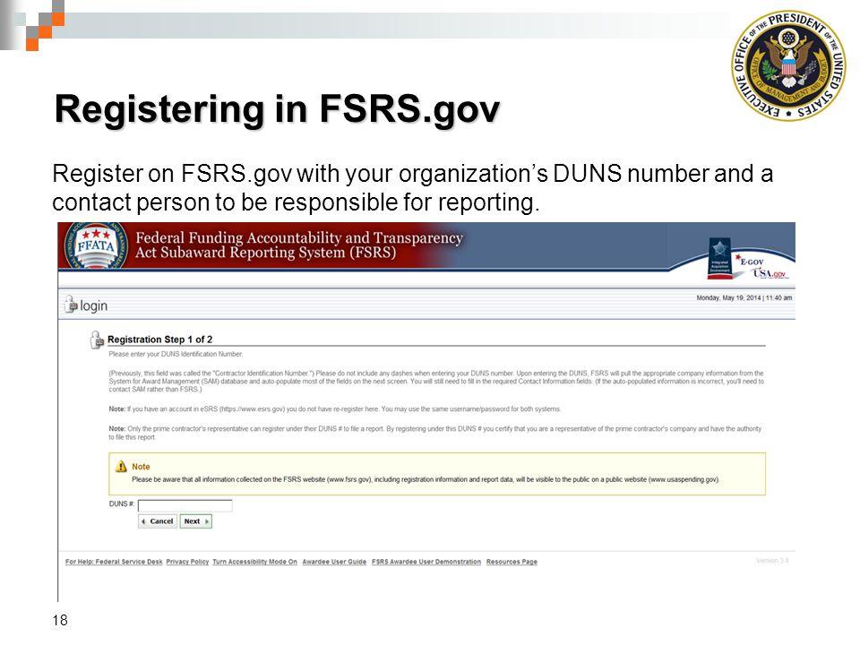 Registering in FSRS.gov