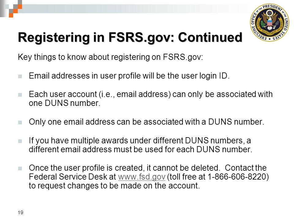 Registering in FSRS.gov: Continued