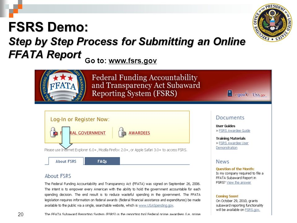 FSRS Demo: Step by Step Process for Submitting an Online FFATA Report