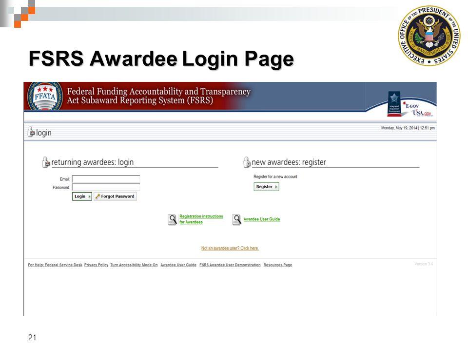 FSRS Awardee Login Page