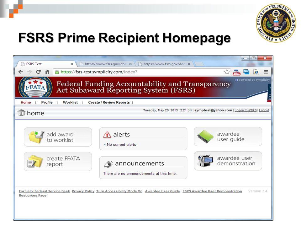 FSRS Prime Recipient Homepage