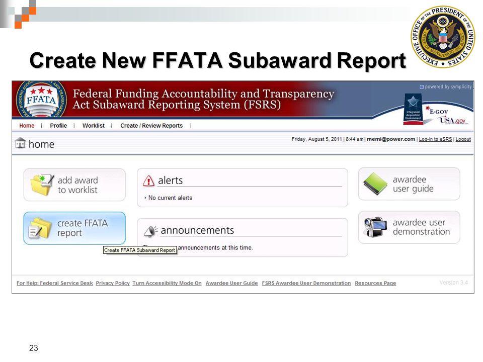 Create New FFATA Subaward Report