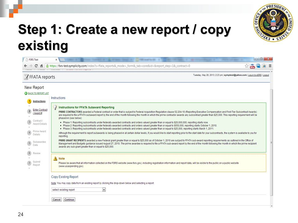 Step 1: Create a new report / copy existing