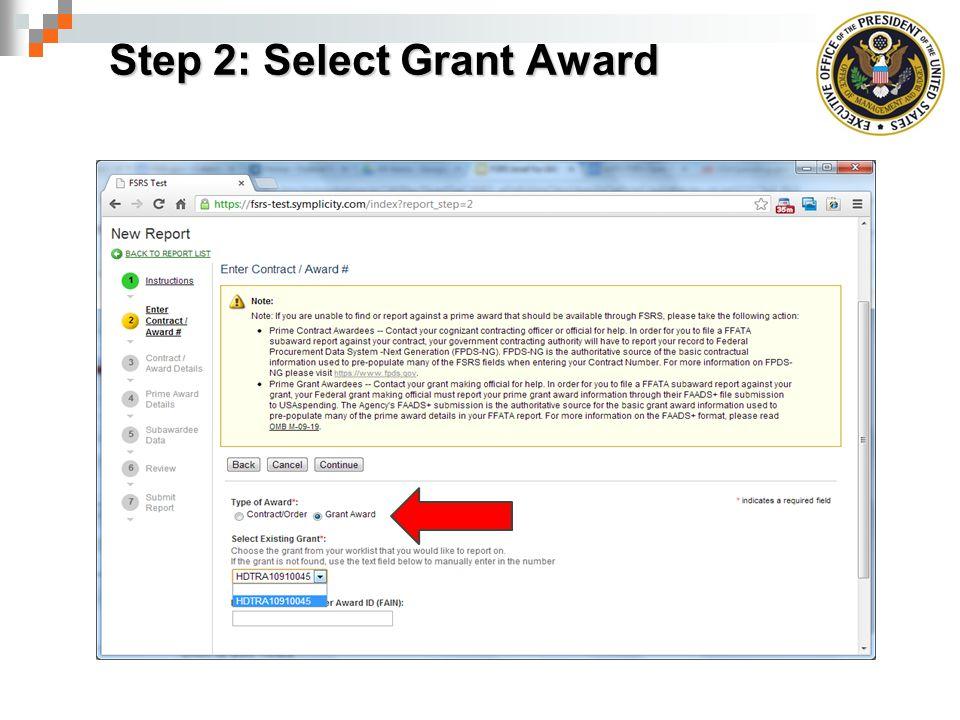 Step 2: Select Grant Award