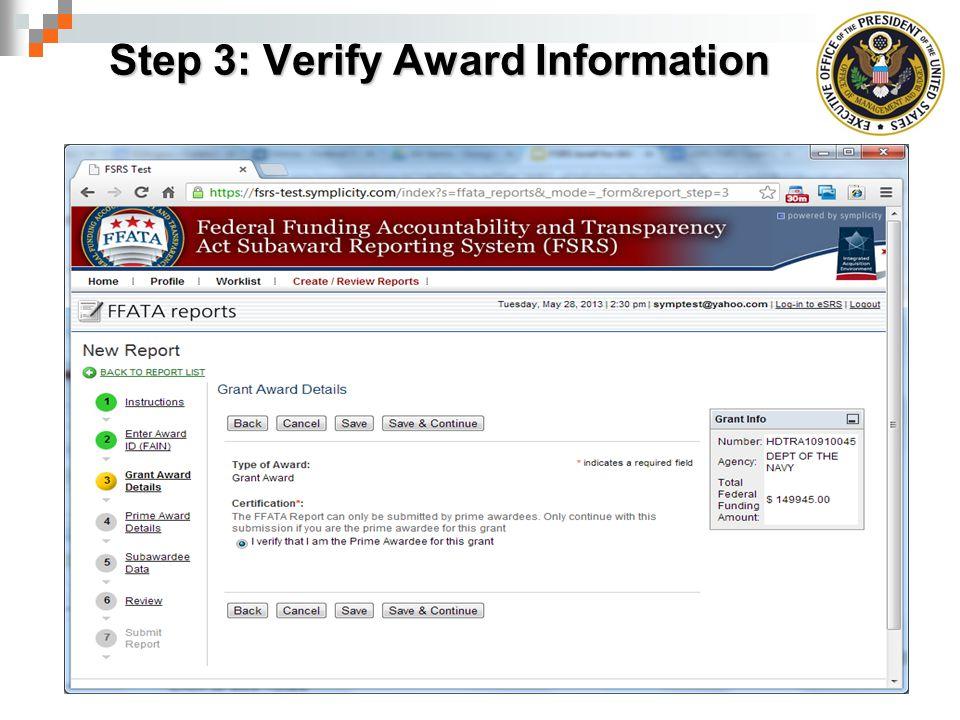 Step 3: Verify Award Information