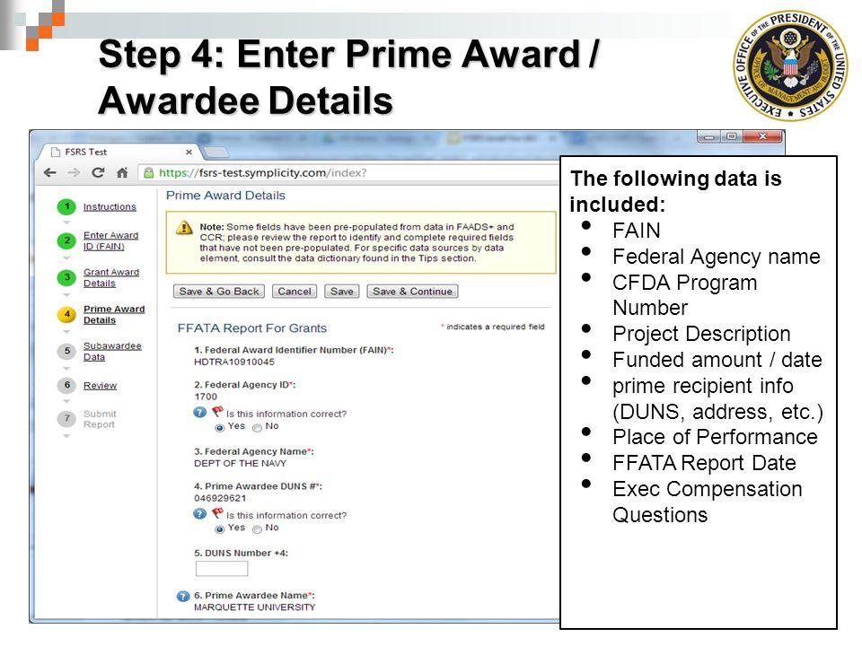 Step 4: Enter Prime Award / Awardee Details