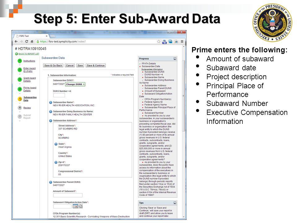 Step 5: Enter Sub-Award Data