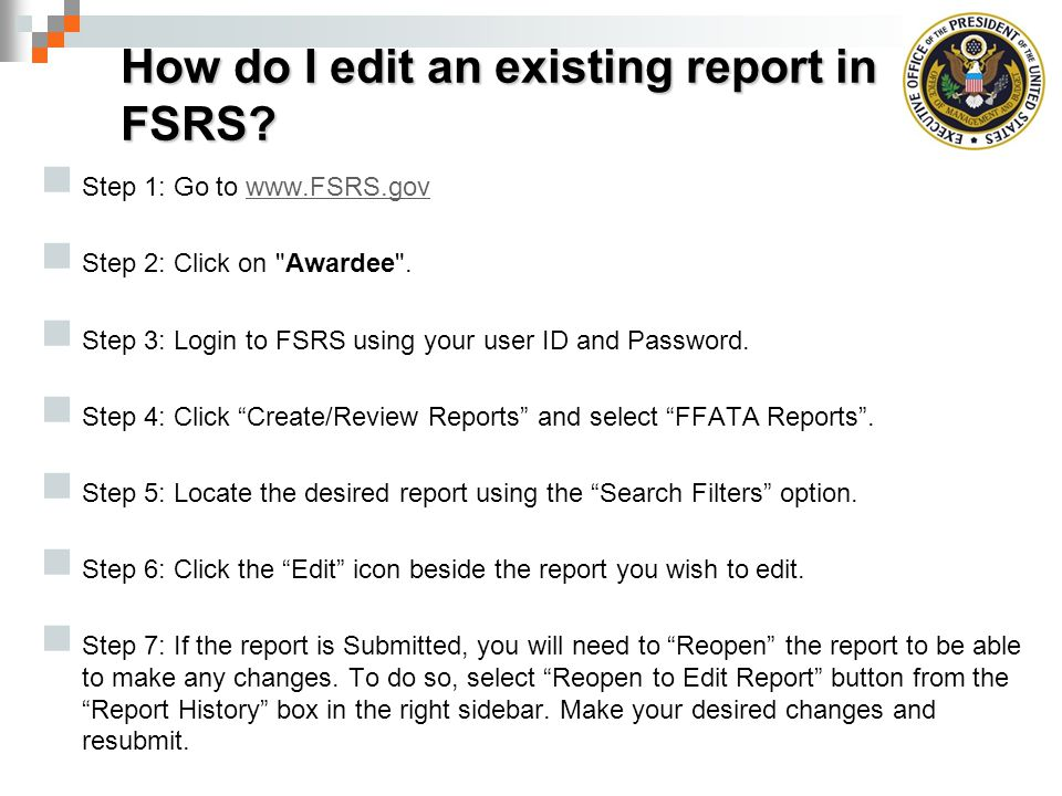 How do I edit an existing report in FSRS