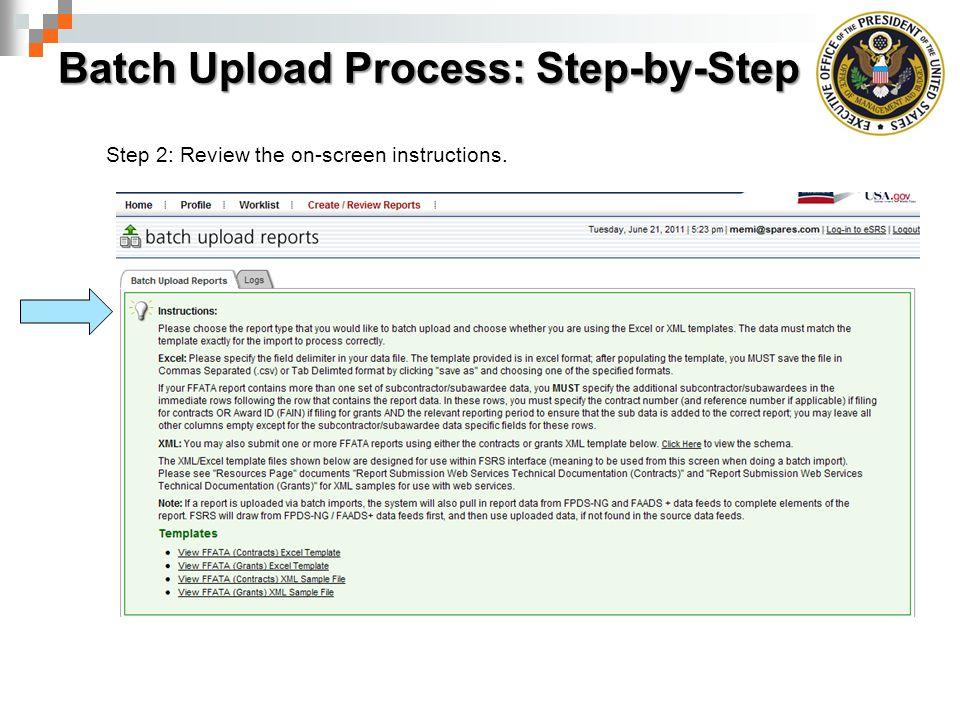 Batch Upload Process: Step-by-Step
