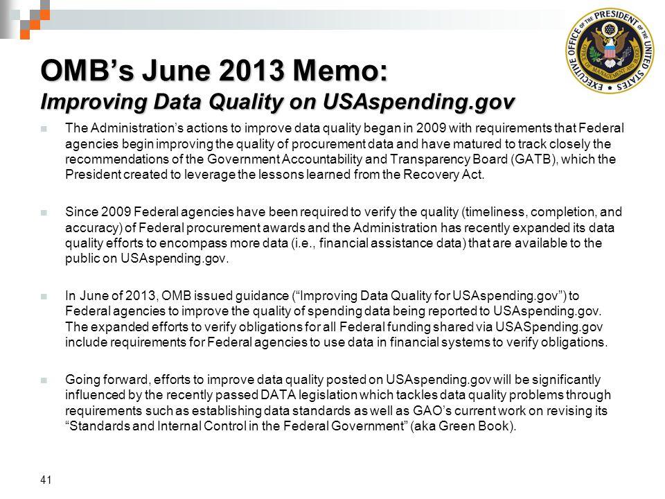 OMB's June 2013 Memo: Improving Data Quality on USAspending.gov