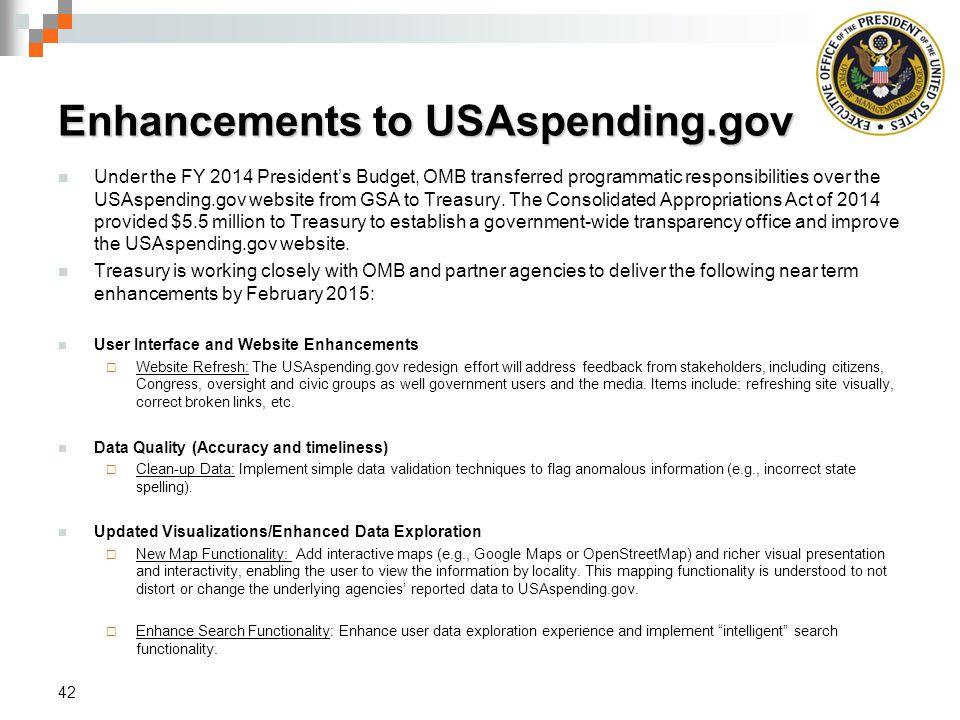 Enhancements to USAspending.gov