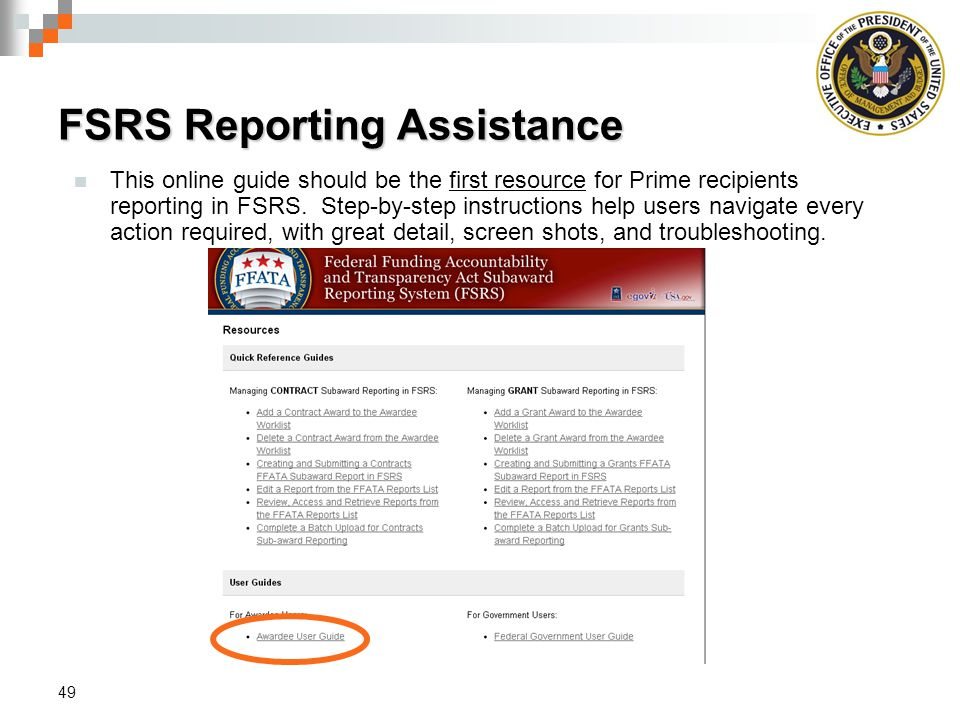FSRS Reporting Assistance
