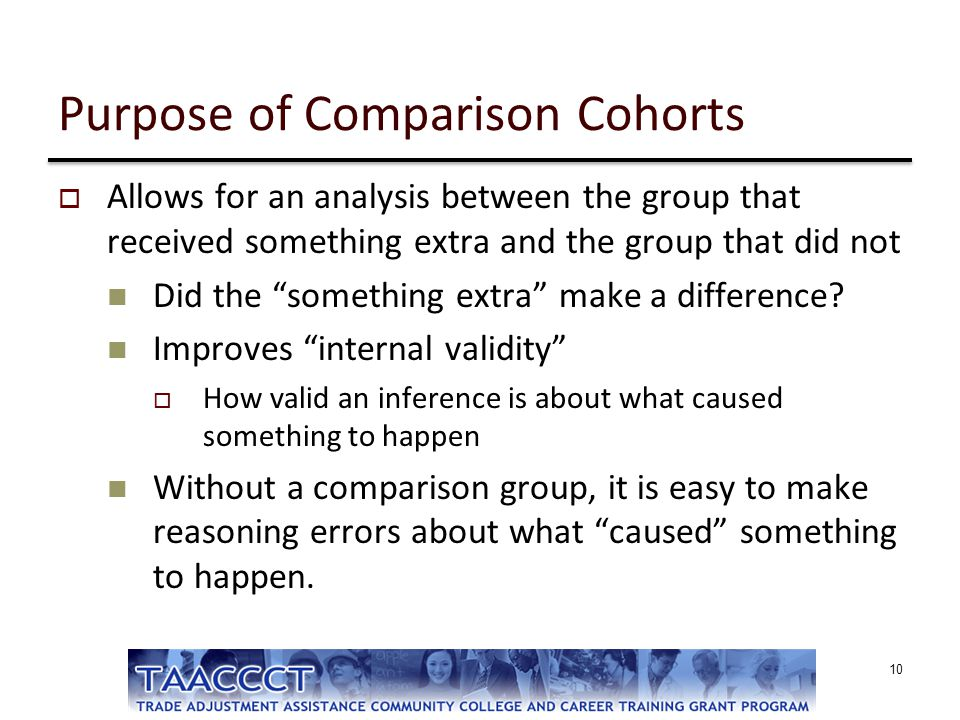 Purpose of Comparison Cohorts