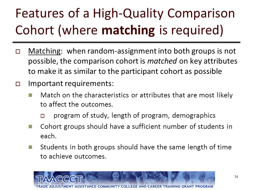 Features of a High-Quality Comparison Cohort (where matching is required)