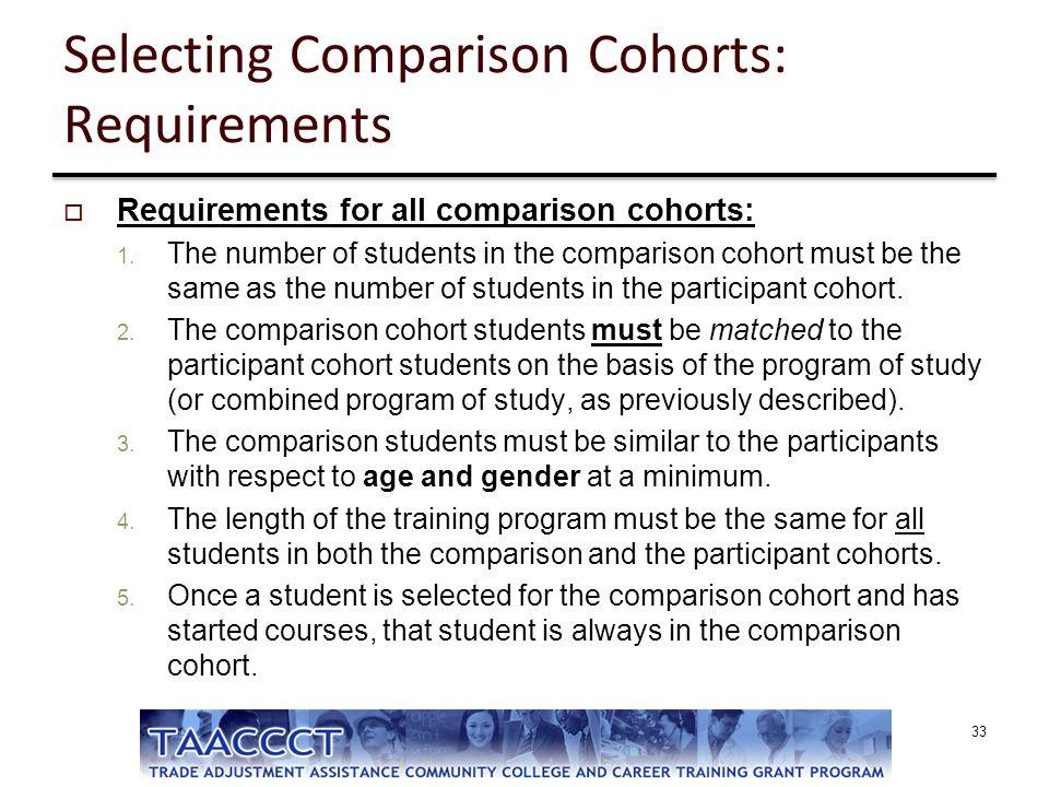 Selecting Comparison Cohorts: Requirements