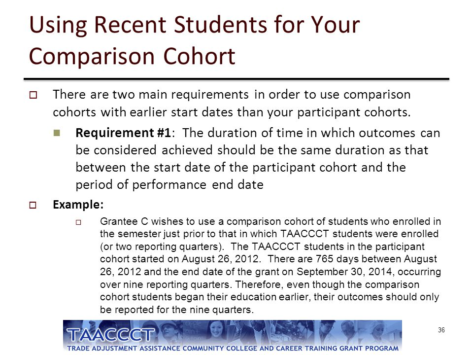Using Recent Students for Your Comparison Cohort