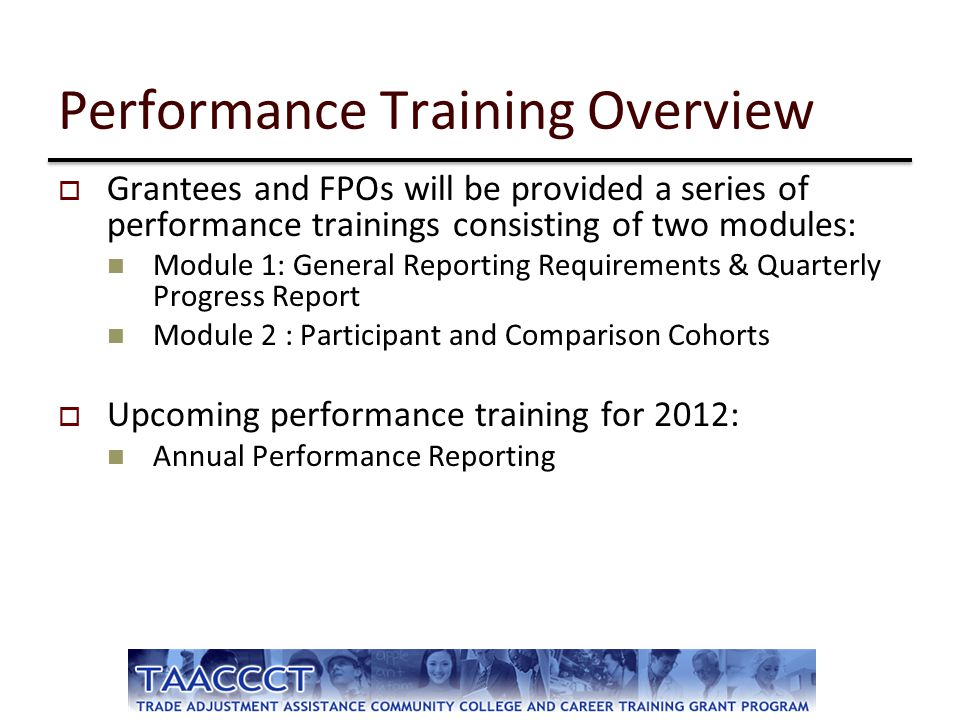Performance Training Overview