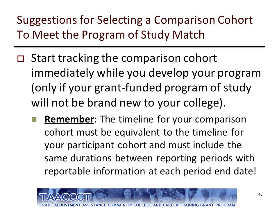 Suggestions for Selecting a Comparison Cohort To Meet the Program of Study Match
