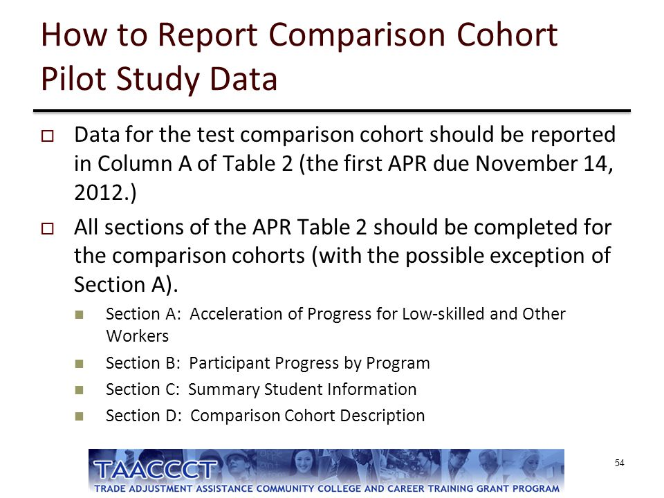 How to Report Comparison Cohort Pilot Study Data
