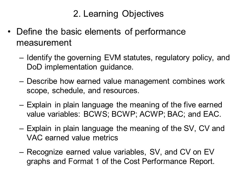 Define the basic elements of performance measurement