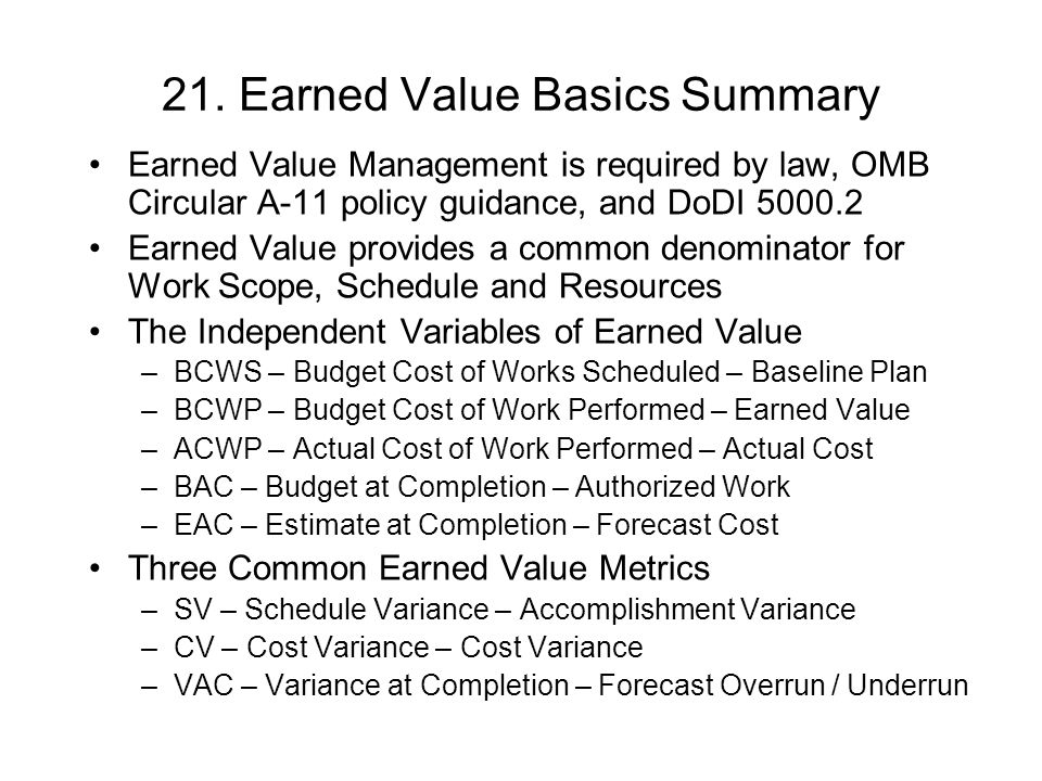 21. Earned Value Basics Summary