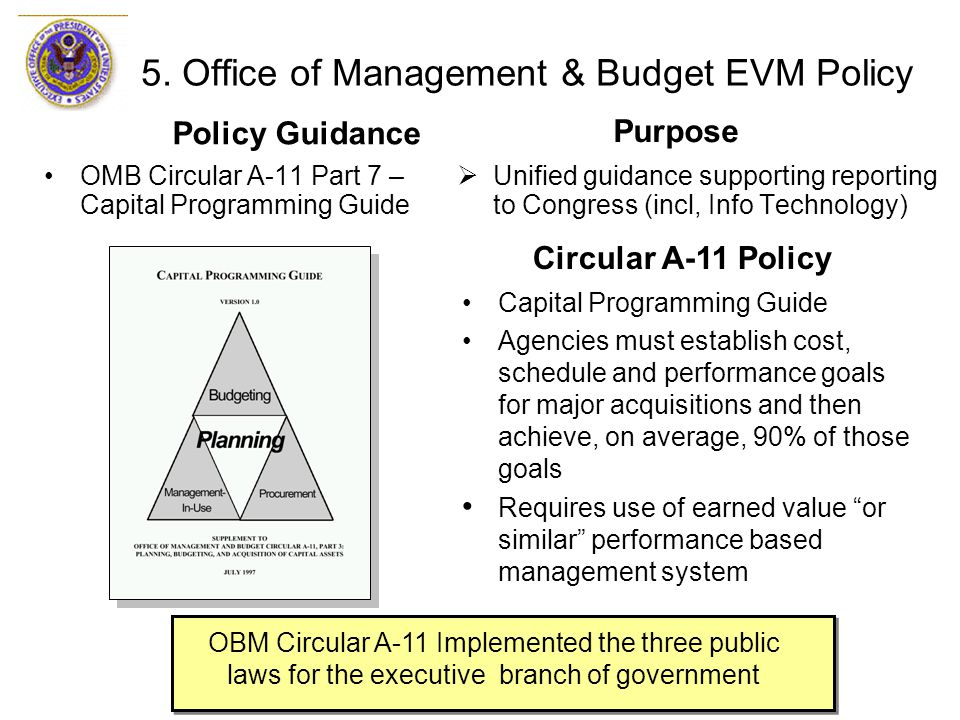 5. Office of Management & Budget EVM Policy