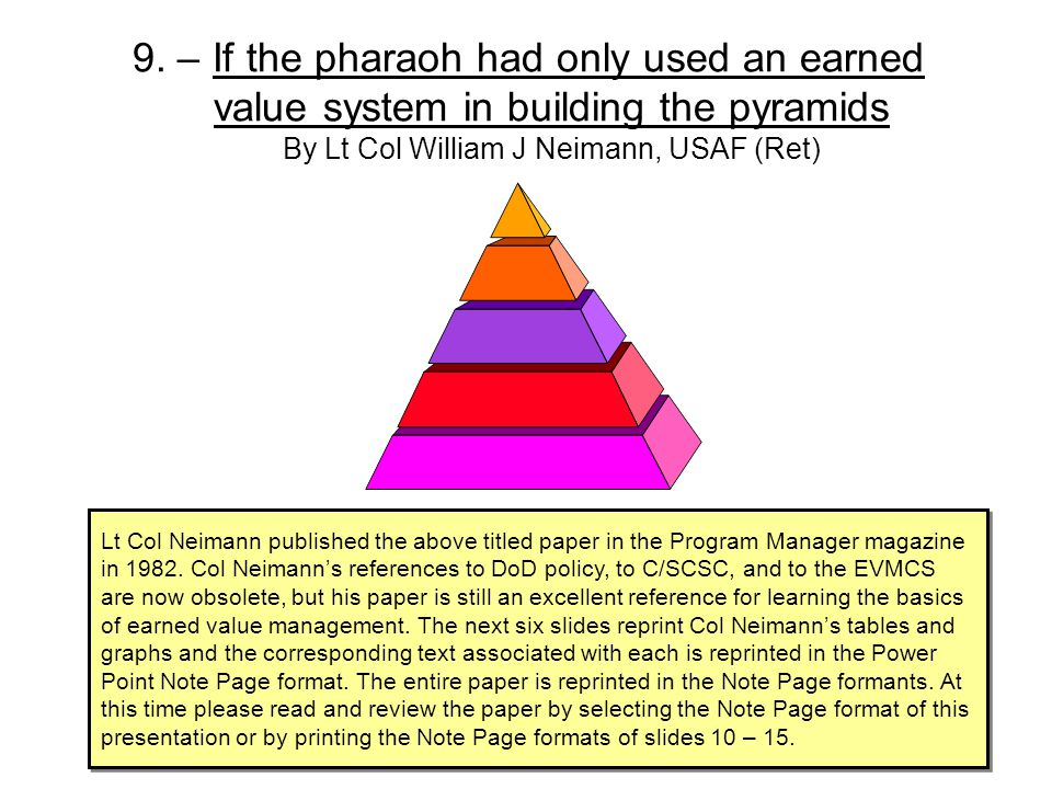 9. – If the pharaoh had only used an earned value system in building the pyramids By Lt Col William J Neimann, USAF (Ret)