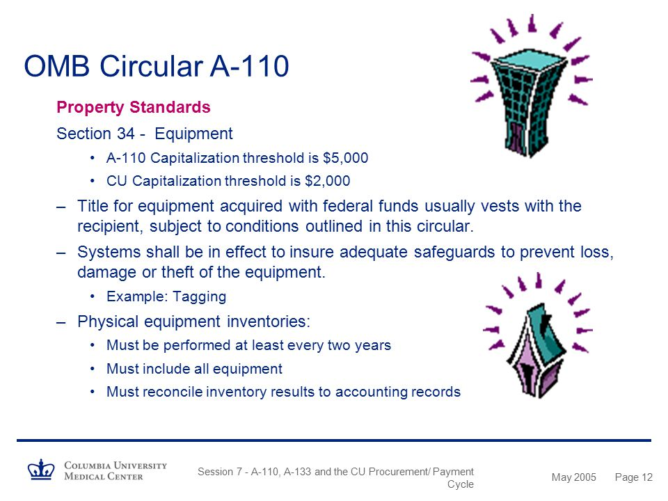 OMB Circular A-110 Property Standards Section 34 - Equipment