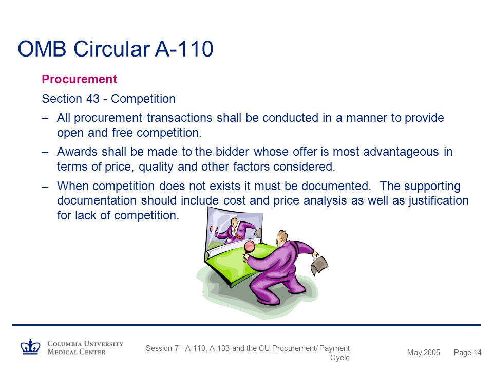 OMB Circular A-110 Procurement Section 43 - Competition
