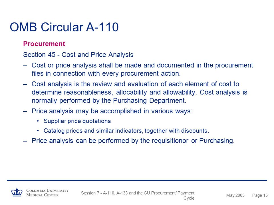 OMB Circular A-110 Procurement Section 45 - Cost and Price Analysis
