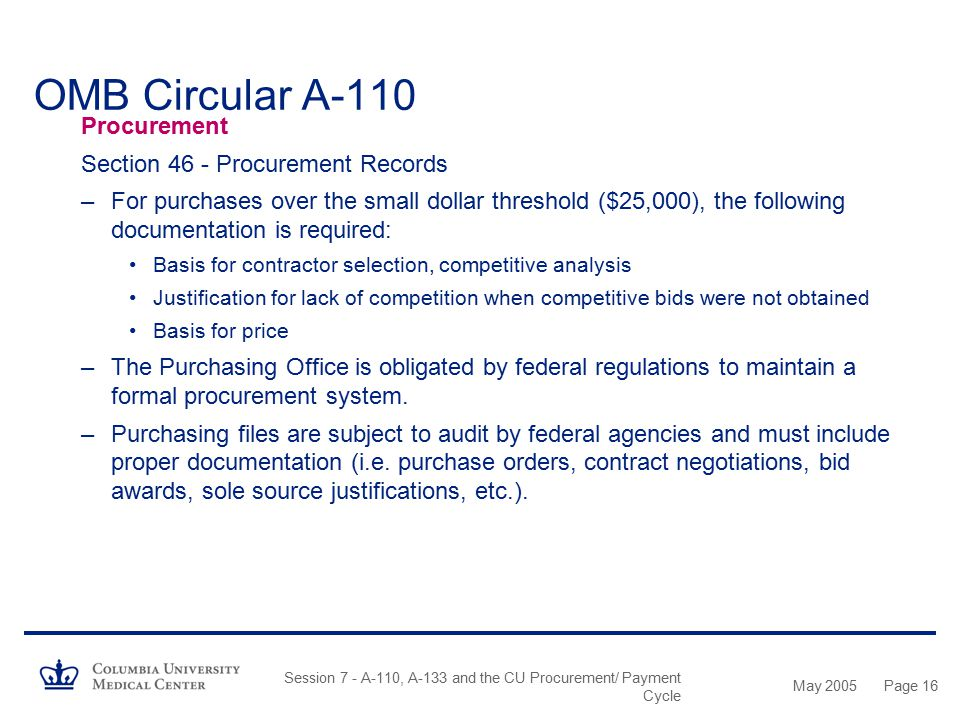 OMB Circular A-110 Procurement Section 46 - Procurement Records