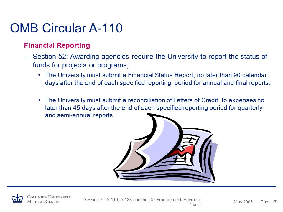 OMB Circular A-110 Financial Reporting