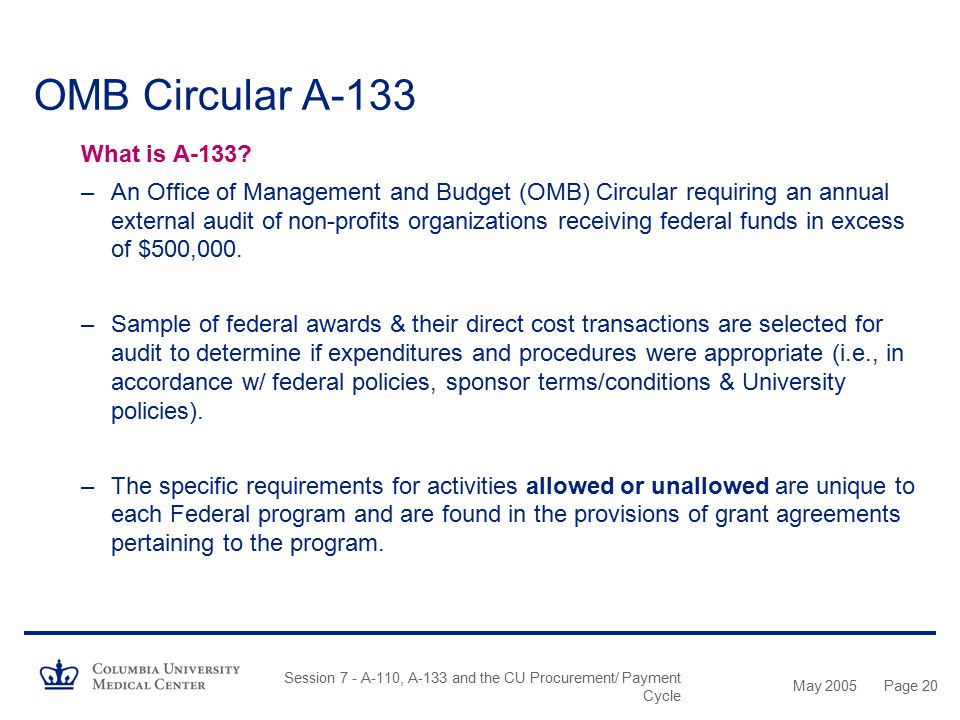 OMB Circular A-133 What is A-133