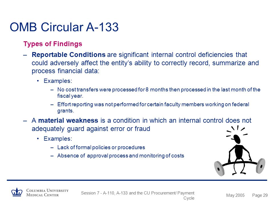 OMB Circular A-133 Types of Findings