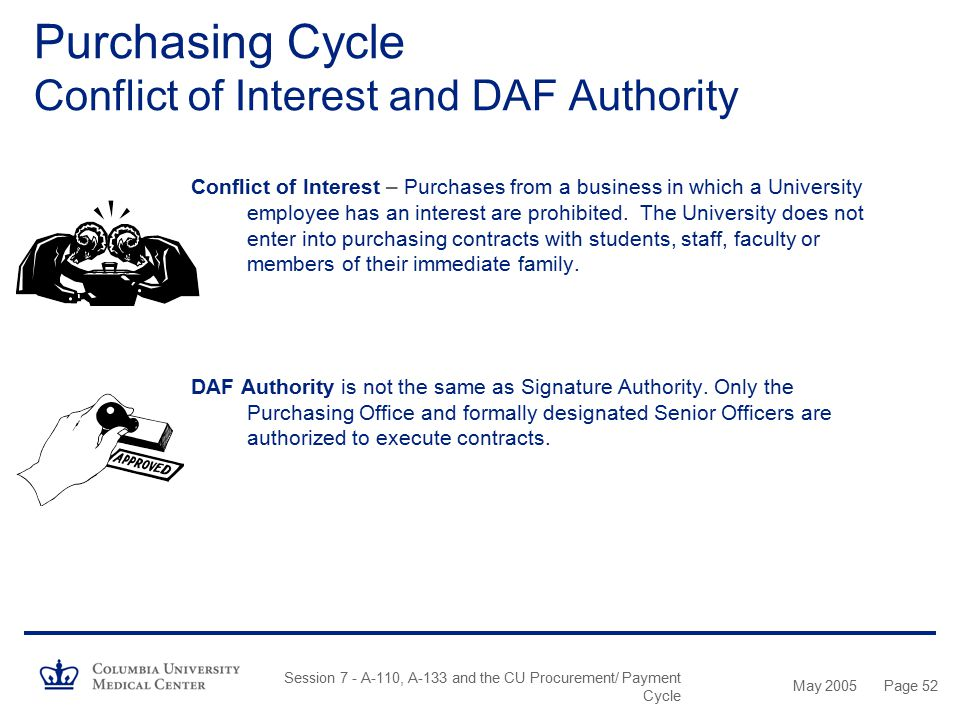 Purchasing Cycle Conflict of Interest and DAF Authority