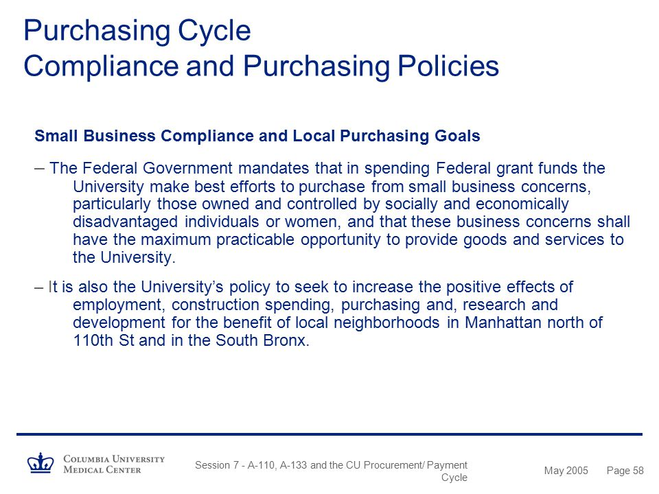 Purchasing Cycle Compliance and Purchasing Policies