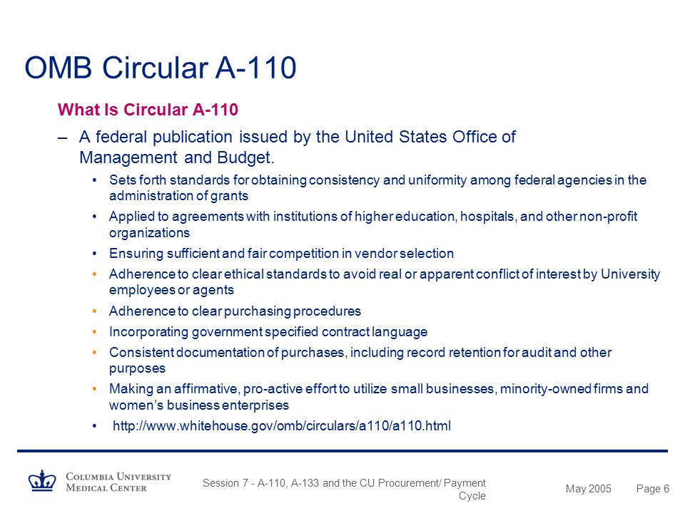 OMB Circular A-110 What Is Circular A-110