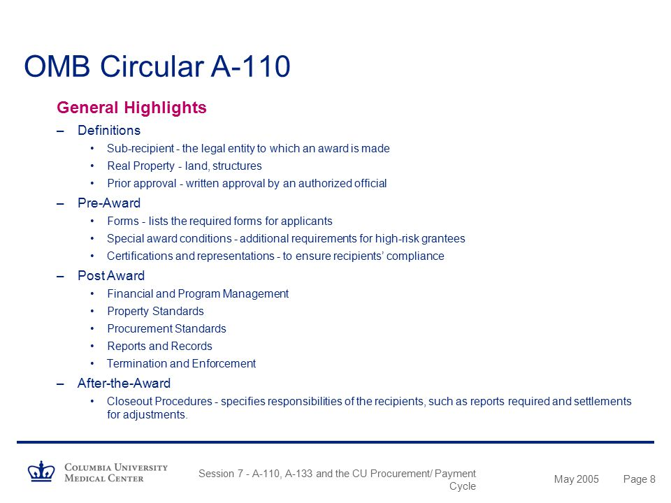 OMB Circular A-110 General Highlights Definitions Pre-Award Post Award