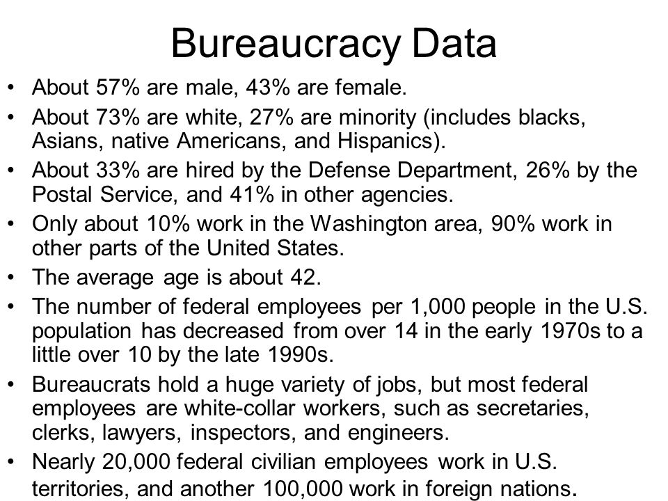 Bureaucracy Data About 57% are male, 43% are female.