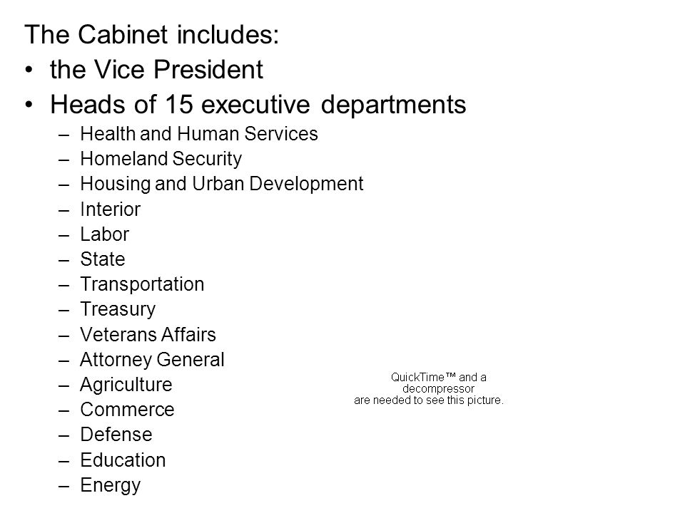 Heads of 15 executive departments