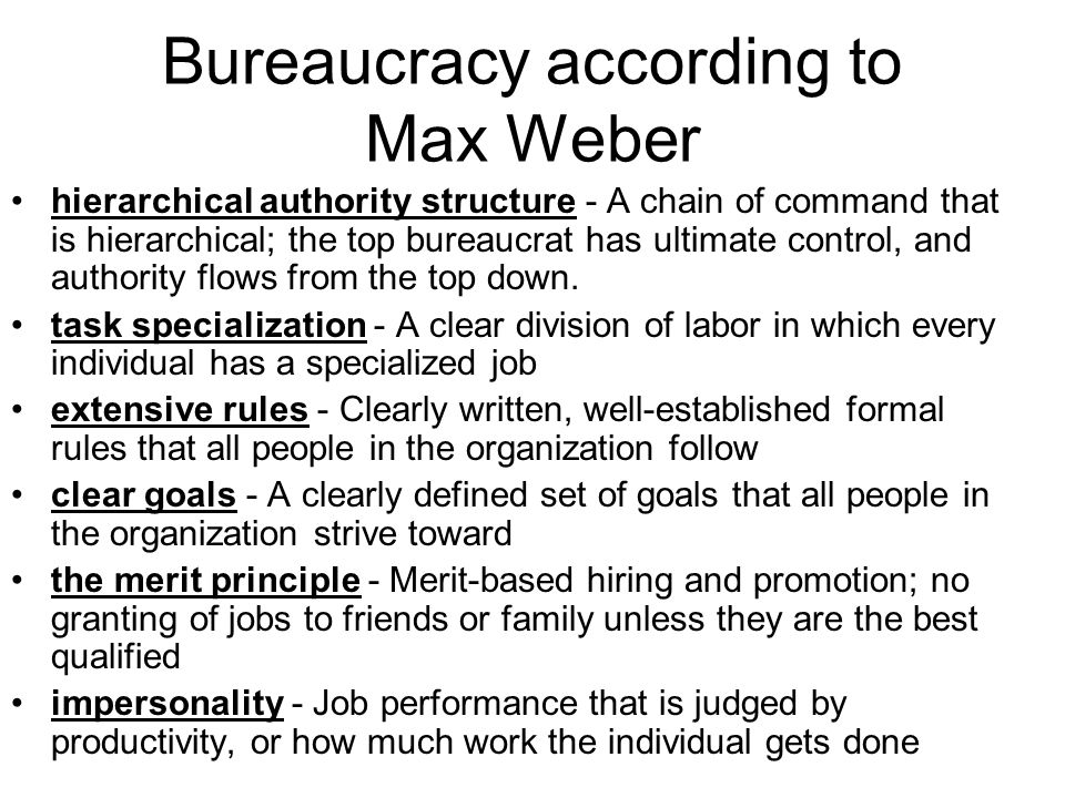 Bureaucracy according to Max Weber