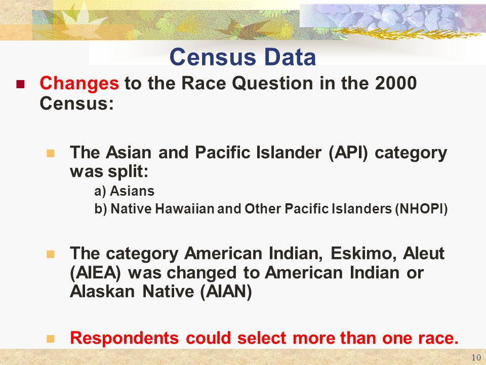 Census Data Changes to the Race Question in the 2000 Census: