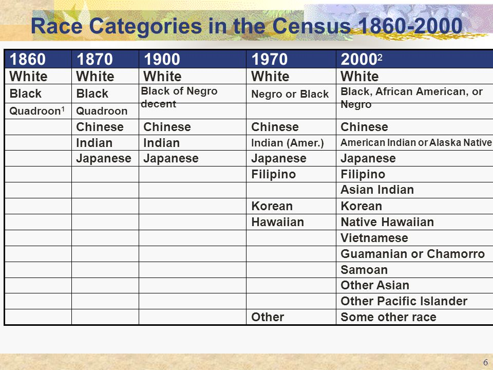 Race Categories in the Census 1860-2000