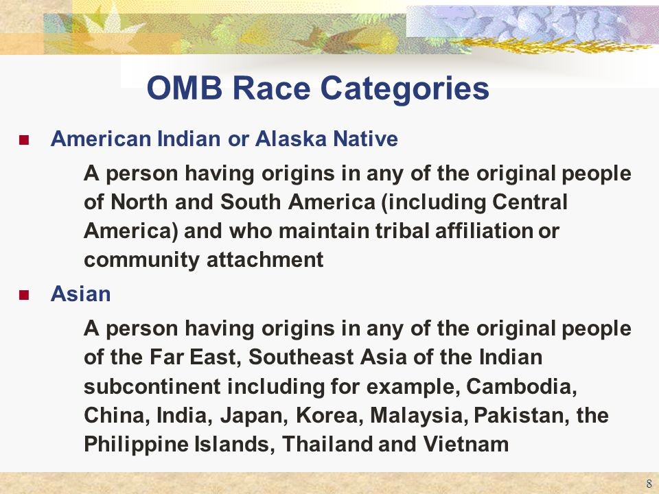 OMB Race Categories American Indian or Alaska Native