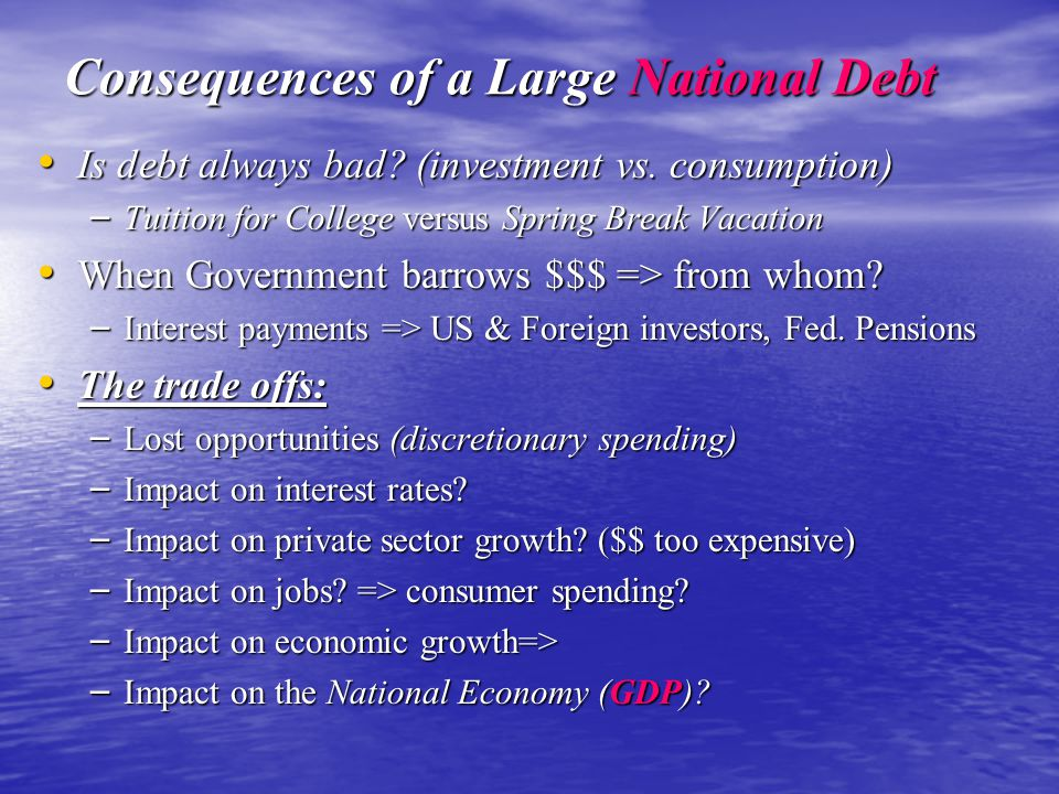 Consequences of a Large National Debt