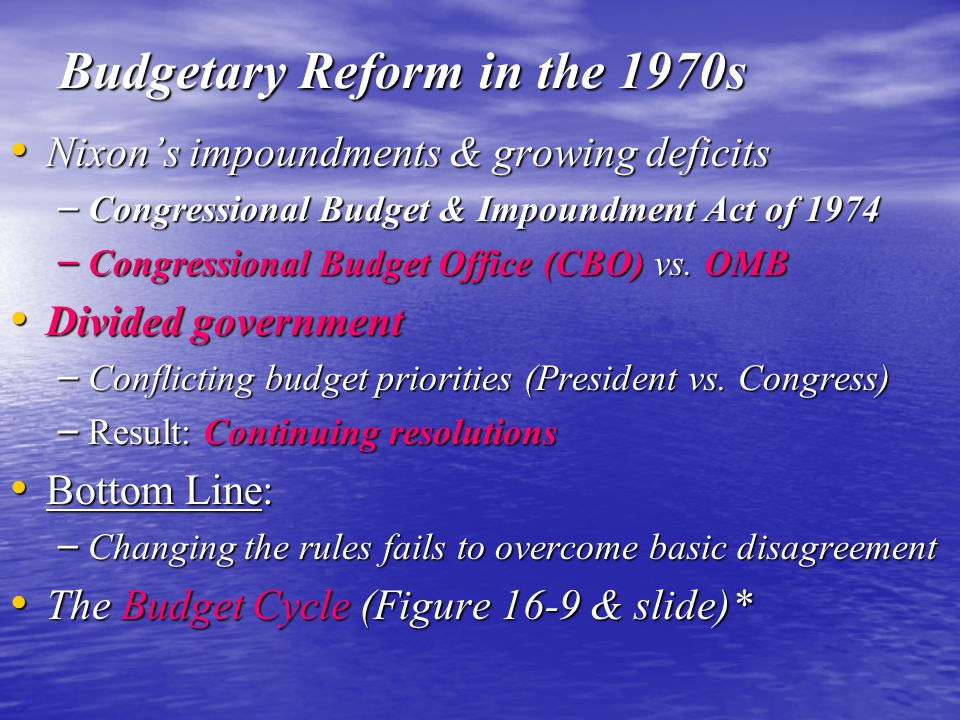 Budgetary Reform in the 1970s