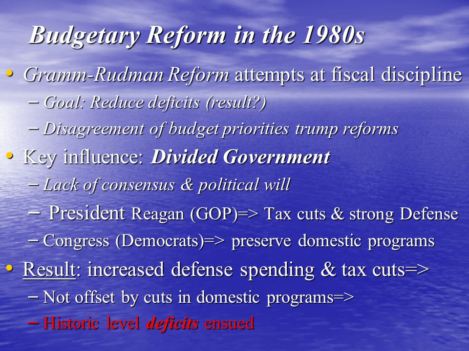 Budgetary Reform in the 1980s