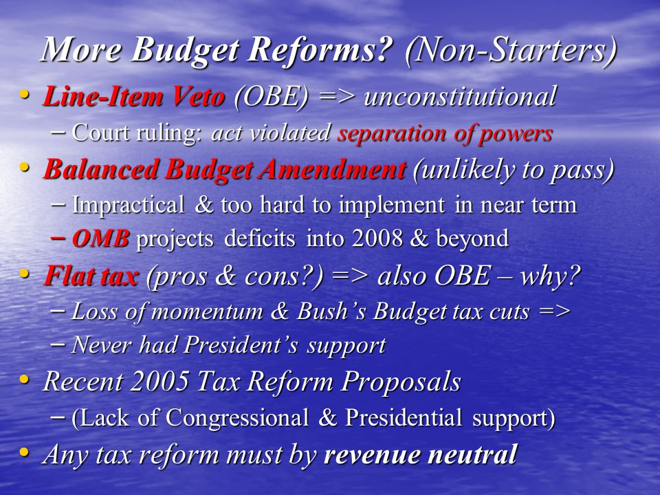 More Budget Reforms (Non-Starters)