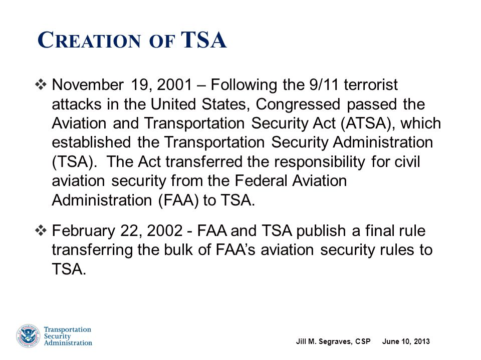 Transportation Security Administration Occupational Safety and Health Program Overview